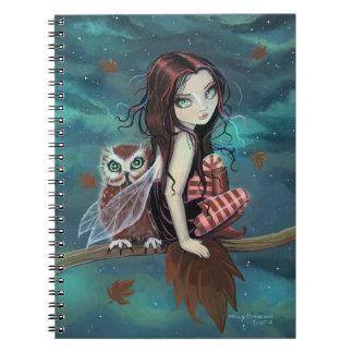 Cute Owl and Fairy Fantasy Art Notebook