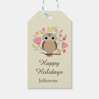Cute Owl and Flowers Holiday Greetings Gift Tags