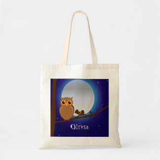 Cute owl and full moon blue night tote bag