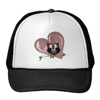Cute Owl and Heart Trucker Hat