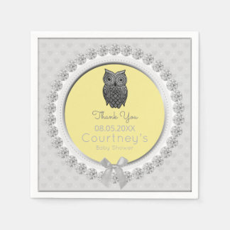 Cute Owl Baby Shower Elegant Yellow Gray Thank You Disposable Napkin
