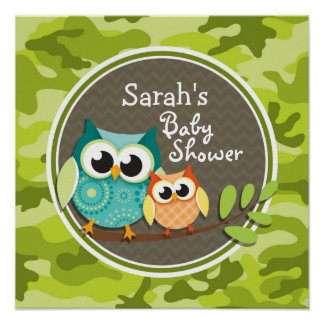 Cute Owl Baby Shower green camo Poster
