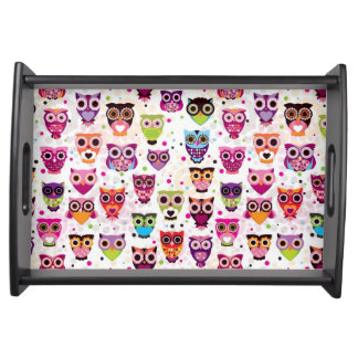 Cute owl background pattern for kids service trays