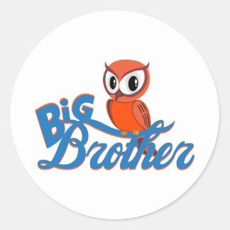 Cute Owl Big Brother Round Sticker