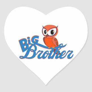 Cute Owl Big Brother Heart Stickers