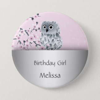 Cute Owl Birthday Girl 3 Inch Round Button