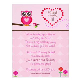 Cute Owl Birthday Invitation