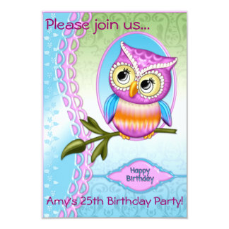 Cute Owl Birthday Invitations Announcements