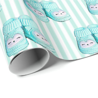 Cute Owl Blue Baby Booties Baby Shower Gift Wrap