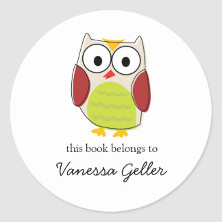 Cute Owl Bookplate Labels