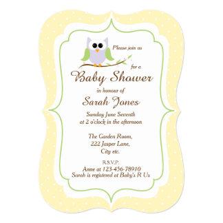 Cute Owl Boy or Girl Baby Shower 5x7 Paper Invitation Card