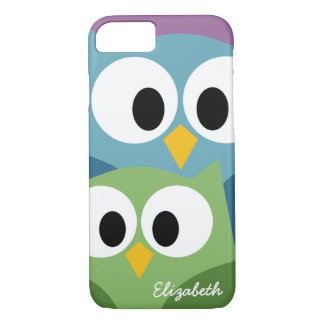 Cute Owl Cartoon eyes with Name - colourful iPhone 8/7 Case