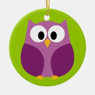 Cute Owl Cartoon - purple and green Ceramic Ornament