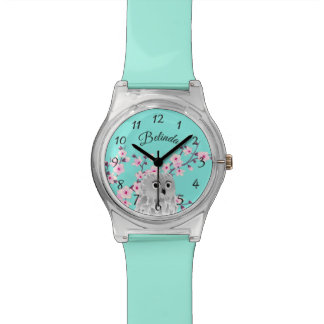 Cute Owl Cherry Blossom Turquoise Numbers Monogram Watch
