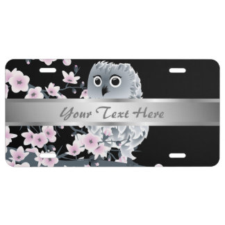 Cute Owl Cherry Blossoms Black Pink License Plate