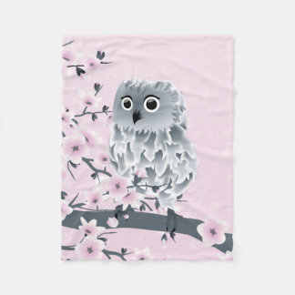 Cute Owl Cherry Blossoms Pink Gray Floral Fleece Blanket