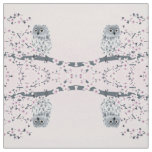 Cute Owl Cherry Blossoms Pink Grey Fabric