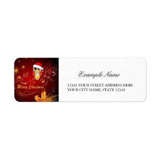 Cute owl christmas labels