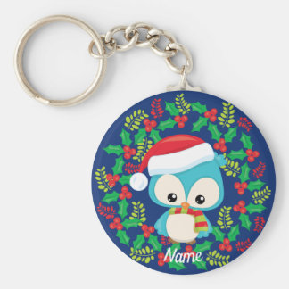 Cute Owl Christmas Wreath Personalized Keychain