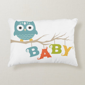 Cute Owl Colorful BABY Text Decorative Pillow