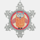 Cute Owl Colourful Christmas Snowflake Pewter Christmas Ornament