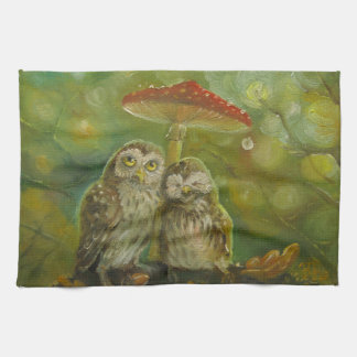 Cute Owl Couple under the Mushroom Kitchen Towel