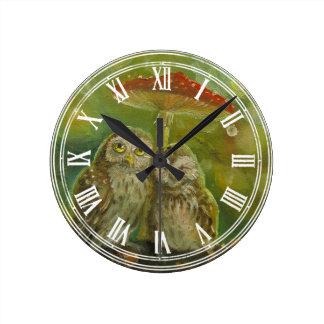 Cute Owl Couple under the Mushroom Wall Clock