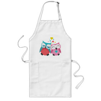 Cute owl couple with hearts long apron