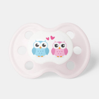 Cute owl couple with pink love heart pacifier