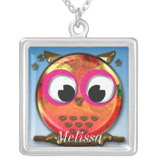Cute owl design silver plated necklace