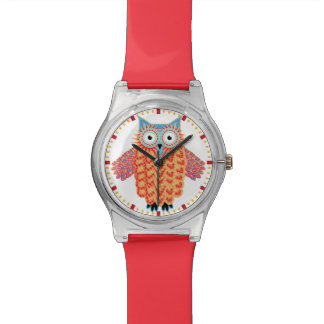 Cute Owl Drawing Colorful Red + Blue Watch
