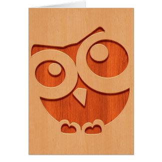 Cute owl engraved in wood effect card
