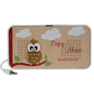 Cute Owl Enjoy Music Laptop Speakers
