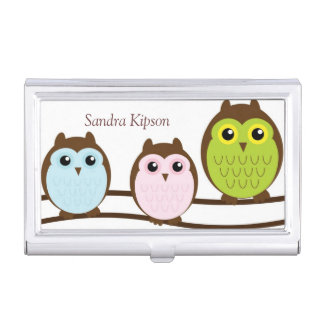 Cute Owl Family Business Card Holder