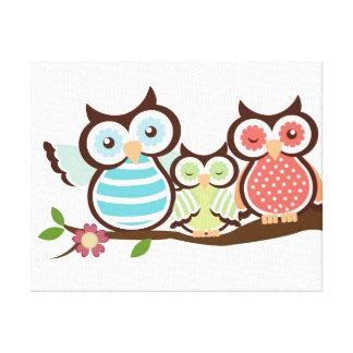 Cute Owl Family Canvas Print