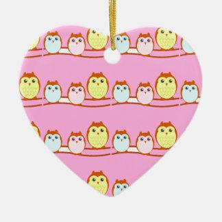 Cute Owl Family Ceramic Heart Ornament