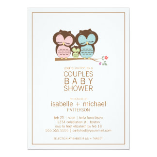 Cute Owl Family Couples Baby Shower Neutral Announcement