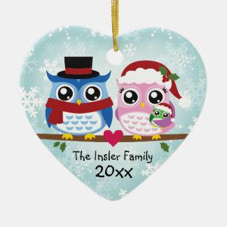 Cute Owl Family of Three Heart Ornament