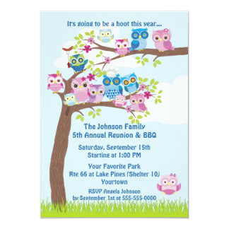 "Cute Owl Family Reunion and BBQ 5"" X 7"" Invitation Card"