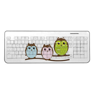 Cute Owl Family Wireless Keyboard