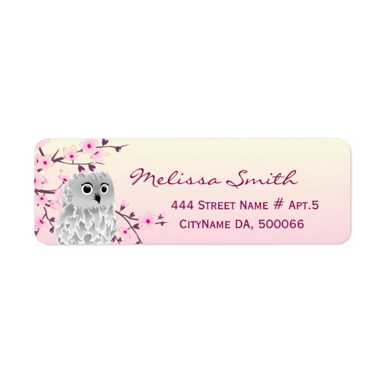 Cute Owl Floral Cherry Blossoms Pink Return Address Label