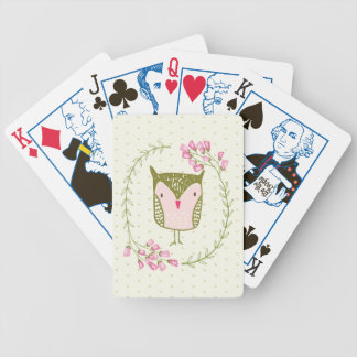 Cute Owl Floral Wreath and Hearts Bicycle Playing Cards