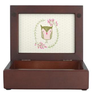 Cute Owl Floral Wreath and Hearts Keepsake Box