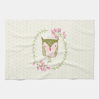 Cute Owl Floral Wreath and Hearts Kitchen Towel