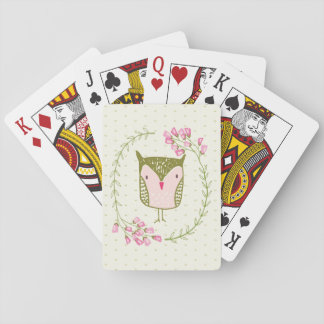 Cute Owl Floral Wreath and Hearts Playing Cards