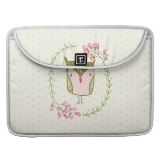 Cute Owl Floral Wreath and Hearts Sleeve For MacBooks