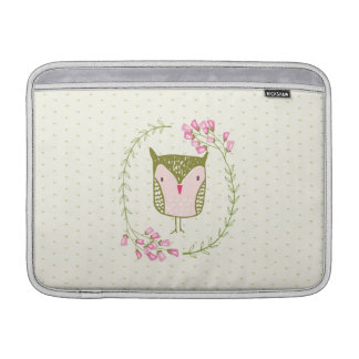 Cute Owl Floral Wreath and Hearts Sleeves For MacBook Air