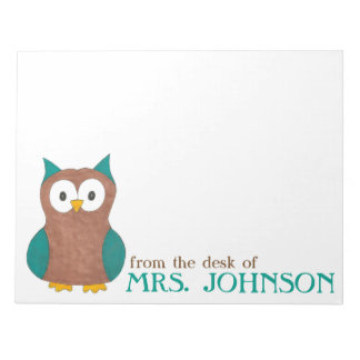 Cute Owl From the Desk of Teacher Name Notepad