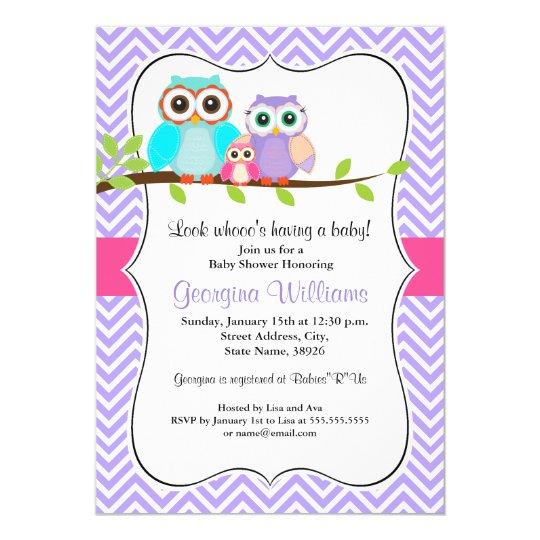 Cute Owl Girl Baby Shower Invitation Pink & Purple
