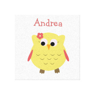 Cute Owl girl for nursery Canvas Print